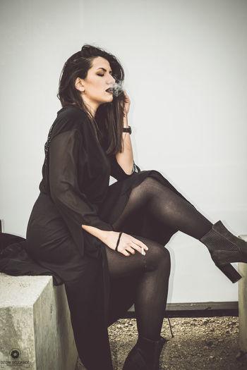 Hello World Stockings , Fashion, Smoke Woman, Portrait Girl Modeling Modeling Shoot Serbia Belgrade Style Cute Love EyeEm Best Shots Lingerie Model Lingerie Girl Sexy
