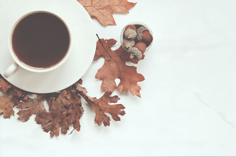 Fall coffee break Background Coffee Break Coffee Cup Colors Desk Top Drink Fall Leaves Nature Office Over Head Work Space