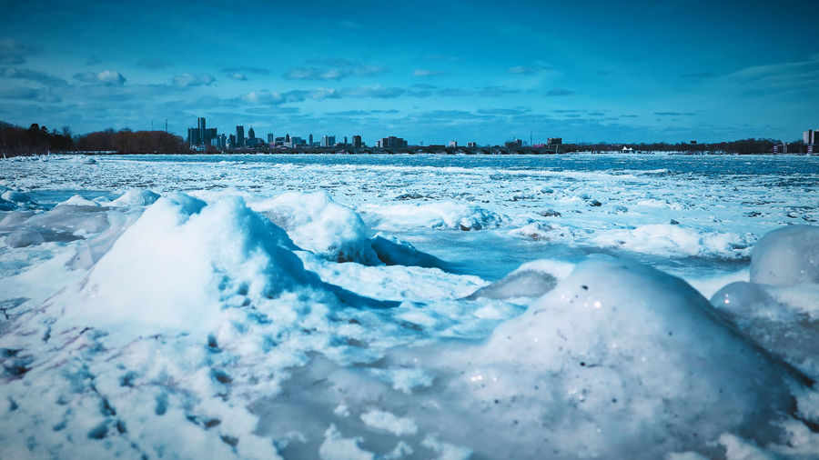 Detroit skyline with frozen water in the foreview