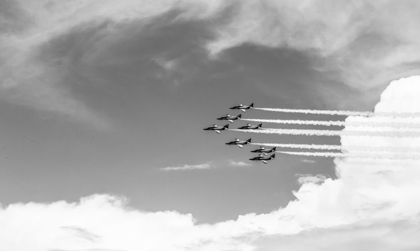 Cloud - Sky Airplane Air Vehicle Sky Airshow Mode Of Transportation Teamwork on the move Cooperation Low Angle View Plane Transportation Flying Speed Motion Fighter Plane Smoke - Physical Structure Order Day Nature Outdoors Vapor Trail No People Aerobatics Blackandwhite Black And White Black & White Skyporn