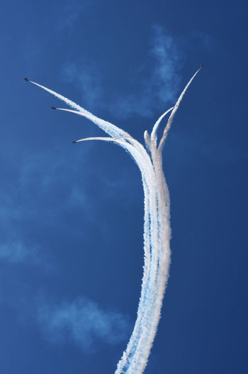 Aerospace Industry Air Vehicle Airplane Airshow Blue Cloud - Sky Day Flight Flying Low Angle View Military Airplane Mode Of Transportation Motion Nature No People on the move Outdoors Plane Sky Smoke - Physical Structure Speed Trail Transportation Travel Vapor Trail