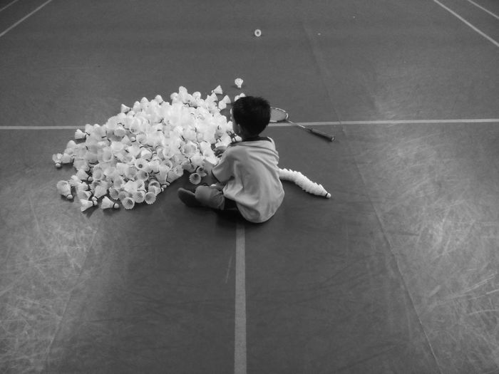 Little Boy Shuttlecock Arranging Badminton Badminton Lover Badminton Court Badminton Training Dicipline Routines Focus Perseverance Go All Out Determination Train Hard Adventure Club Young Athlete