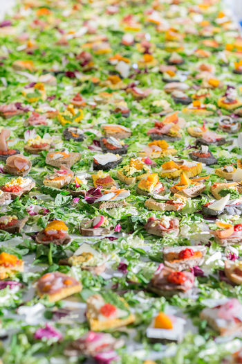 Appetizer Backgrounds Bread Close-up Day Feast Fish Food Food And Drink Freshness Full Frame Healthy Eating Indoors  No People Open Sandwich Party Party - Social Event Party Time Ready-to-eat Salad Selective Focus Snack Vegetable Visual Feast Food Stories