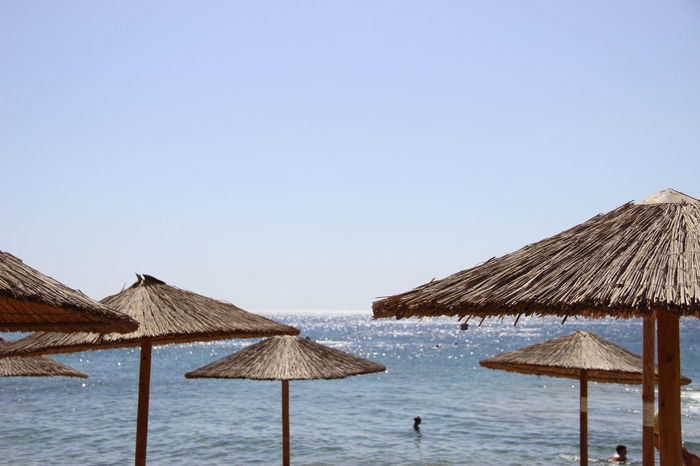 Crete Greece Crete Stalis Crete Island Beach Beach Umbrella Beauty In Nature Below Clear Sky Copy Space Crete Day Nature No People Outdoors Protection Sea Shelter Stalis Summer Thatched Roof Tranquility Under Water
