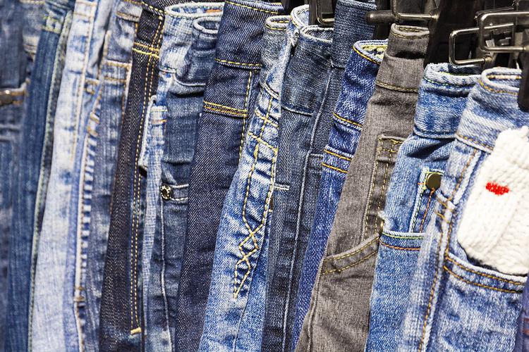 Full frame shot of jeans in store