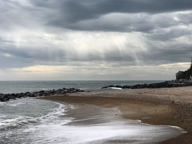 Sunbeams over the Isle of Wight. Sea Water Beach Sky Horizon Over Water Cloud - Sky Nature Tranquility Beauty In Nature Scenics Tranquil Scene Outdoors Sand Wave Day No People Sunbeam Sunbeams Ventnor Ventnor Isle Of Wight Isle Of Wight  Hampshire  England Uk Seashore