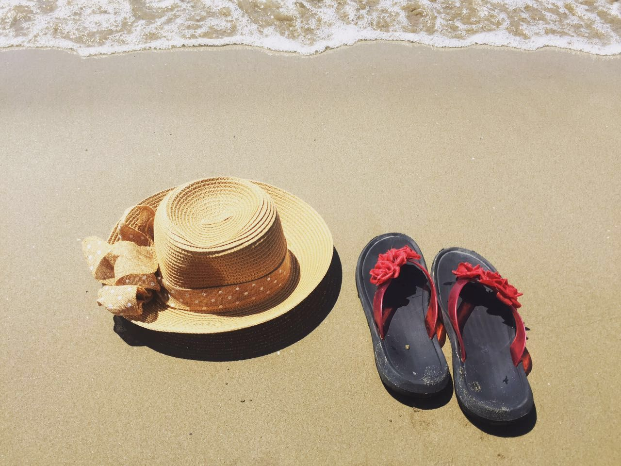 beach, shoe, land, sand, sea, pair, high angle view, water, nature, sandal, no people, trip, still life, vacations, absence, sunlight, holiday, slipper, day, outdoors, compatibility, personal accessory