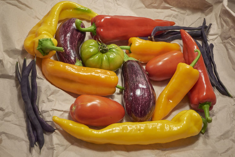 High angle view of bell peppers in container
