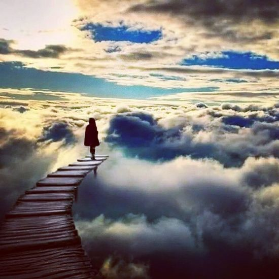 Come, Walkwithme Today Everyday Foreverandever TillDeath AtLeast sky skywalk path person clouds morning HaveANiceDay LoveYall kisses