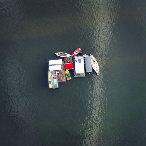 High angle view of ship floating on lake