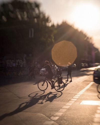 Oldlens Mood Sundowner Transportation Mode Of Transportation Land Vehicle City Road Bicycle Sunlight Street Shadow Real People Tree Sky Day One Person