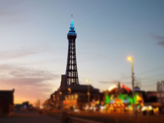 Bright Lights Of Blackpool Blue Lights On Blackpool Tower Blue Lights  Night Lights Blackpool Tower The Essence Of Summer Summer2016 Summertime Summer Tourist Attraction  Tourism Night Time Blackpool Seafront Focus Edited Focus On Blackpool Tower