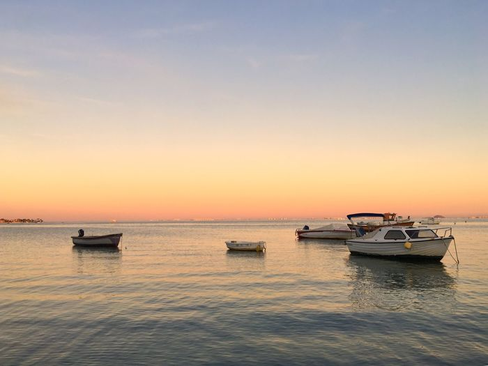 Sunset n Spain EyeEm Selects SPAIN Nautical Vessel Water Transportation Sky Mode Of Transportation Sunset Sea Beauty In Nature Scenics - Nature Orange Color Tranquility Waterfront Nature Horizon Horizon Over Water Tranquil Scene No People Outdoors Idyllic Fishing Boat