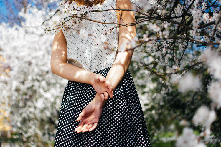 Spring. Back Beauty In Nature Close-up Day Flowers Girl Hand Human Finger Nature Outdoors Person Spring Springtime Sunny Day Touching Tree