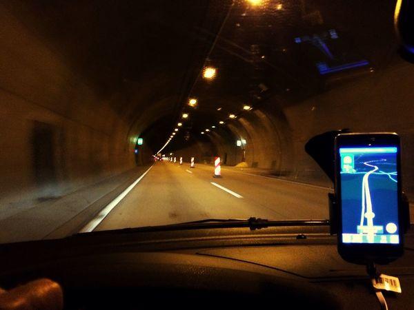 MeinAutomoment Autobahn Traveling Germany GERMANY🇩🇪DEUTSCHERLAND@ Speedway Inside The Car Car Travel Tunnel Tunnel View Lights Navigator