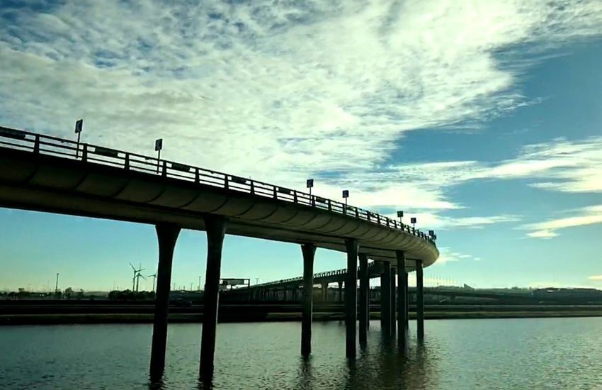 Sky Water Built Structure Architecture Cloud - Sky Nature Waterfront Bridge - Man Made Structure Architectural Column Bridge Connection Outdoors No People Building Exterior Day