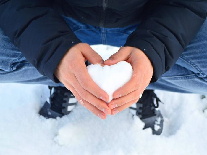 EyeEm Selects Heart Shape Human Body Part Love Human Hand Valentine's Day - Holiday Adults Only Snow