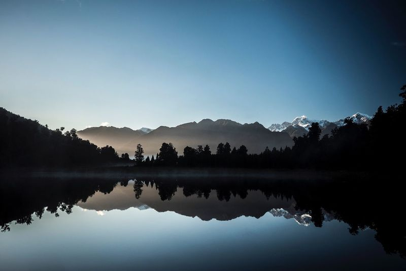 Idyllic shot of trees and mountains reflection in lake against sky