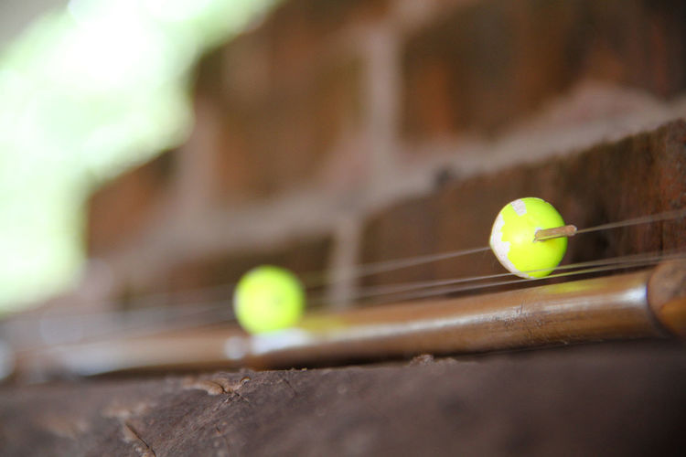 Close-up of yellow toy ball on wood