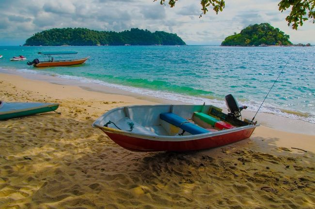 Beach Sea Sand Water Nature Cloud - Sky Tropical Climate Travel Vacations Sky Tranquility Tree Moored Outdoors Travel Destinations Beauty Perak Malaysia Pangkor Scene Scenery Scenic Boat Island Horizon Over Water