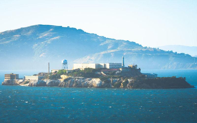 Alcatraz island with light fog