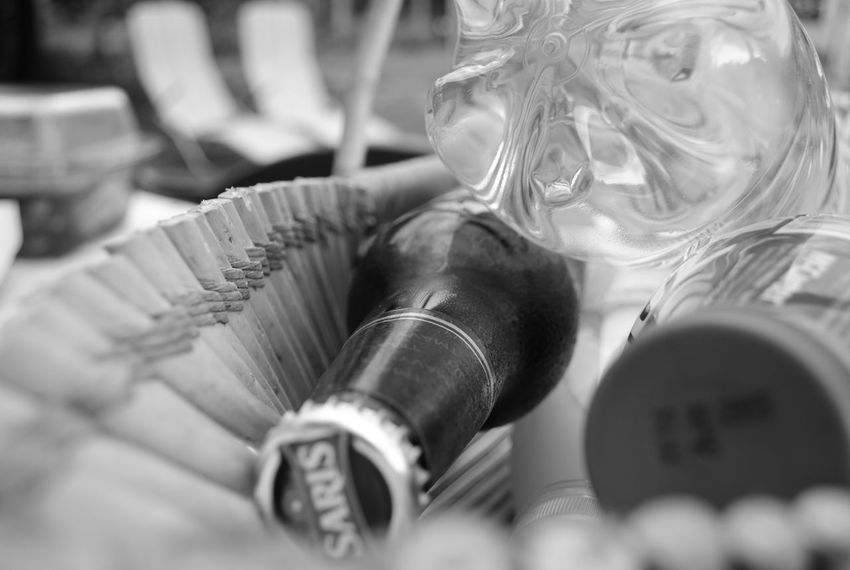 Basket BBQ Party Beerbottles Blackandwhite Close-up Detail Festival Garden Party Melancholic Selective Focus Still Life Summer