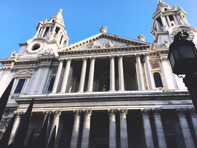 London Cathedral Low Angle View Building Exterior Architecture Built Structure Outdoors Travel Destinations Architectural Column Day Sky City No People Religion Statue History Sculpture Pediment Place Of Worship Your Ticket To Europe