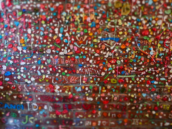 Food Stories Gum Wall Post Alley Seattle Tourism Seattle, Washington Alley Chewing Gum Close-up Gum Wall Seattle Multi Colored