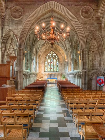 St Albans Abbey Seat Architecture Religion In A Row Arch Built Structure Place Of Worship Pew No People Chandelier Building Aisle