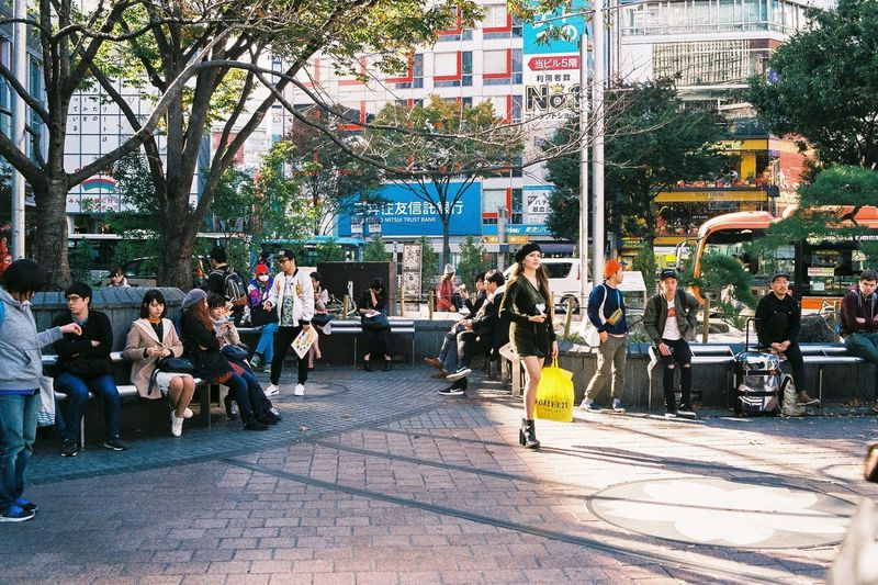 People sitting in city