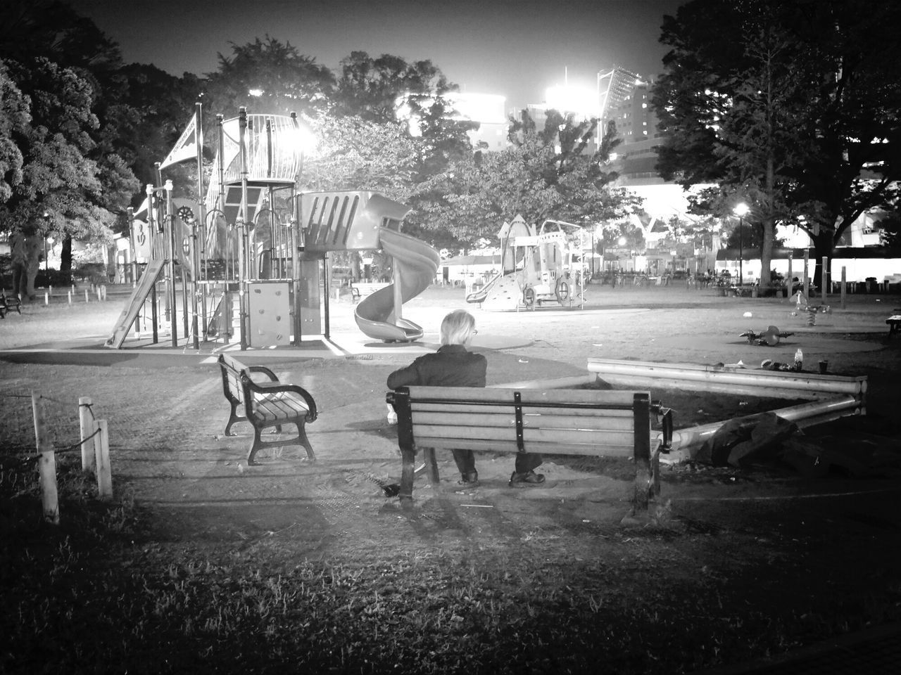 tree, real people, full length, leisure activity, childhood, night, park - man made space, one person, girls, outdoors, boys, nature, young adult, people