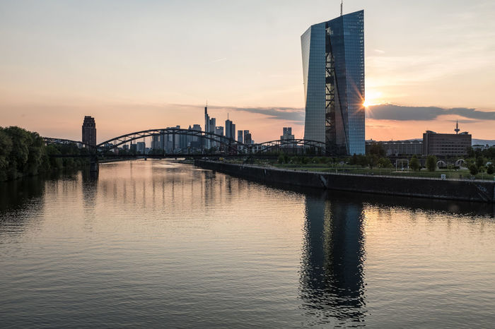Architecture Skyline Skyline Frankfurt Skyline Frankfurt Am Main Architecture Bridge - Man Made Structure Building Exterior Built Structure City Connection Day European Central Bank Illuminated Modern No People Outdoors Reflection River Sky Skyscraper Summer Sunset Travel Destinations Urban Skyline Warm Colors Water Waterfront