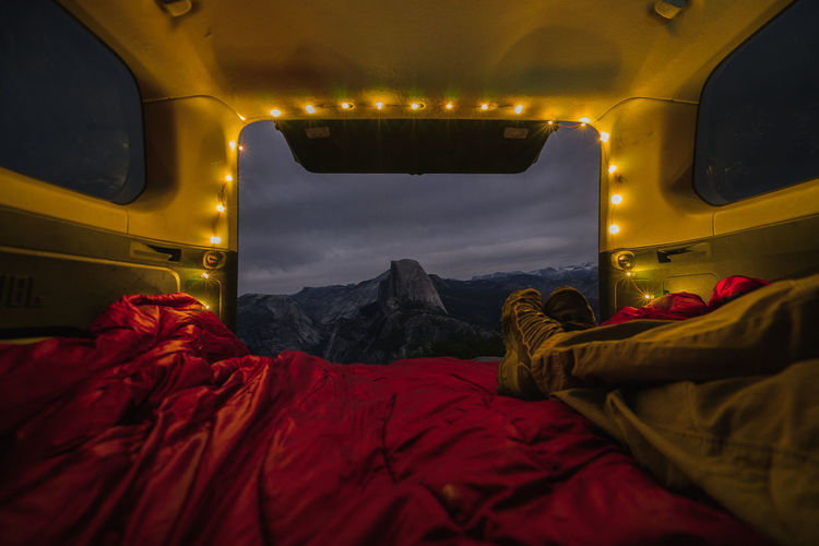 Beauty In Nature Gorumpl Half Dome Illuminated Landscape Nature Night No People Outdoors Red Scenics Sky Transportation Travel Vanlife Yosemite Yosemite National Park Fresh On Market 2017