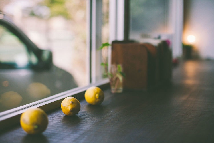 Lemons on window sill