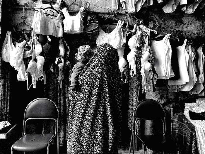 Live Love Shop Street Photography Market Jerusalem Woman Mother Child Clothes Shopping ♡ Shop Black And White Tailored To You Fine Art Photography