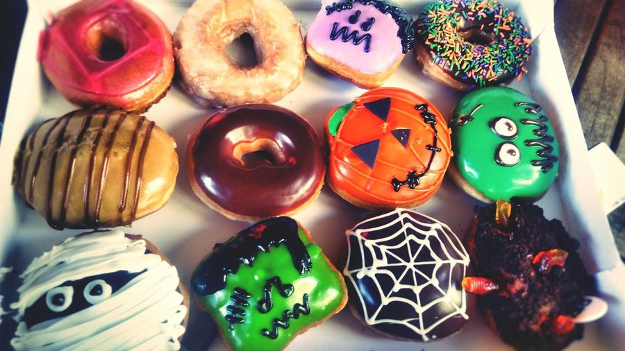 Scary Treats Doughnuts♥ Doughnuts Yummy YumYum KrispyKreme Sweets Halloween Halloween_Collection Sweetness Doughnutday Multi Colored Variation High Angle View Celebration Choice No People Close-up Food Ready-to-eat Day Outdoors
