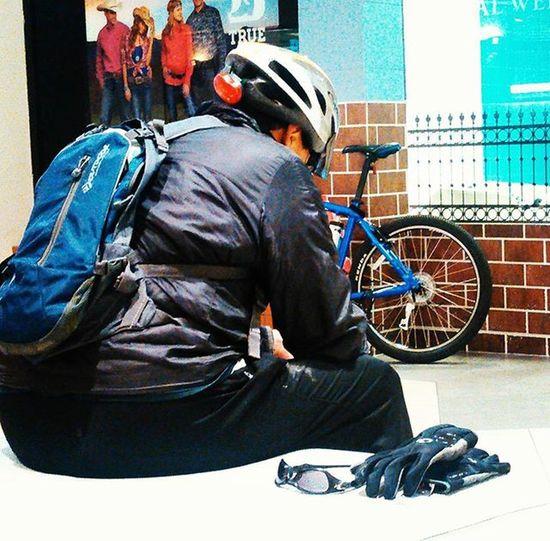 A Cyclist takes
