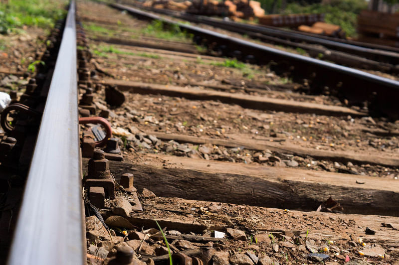 Close-up of empty railroad track