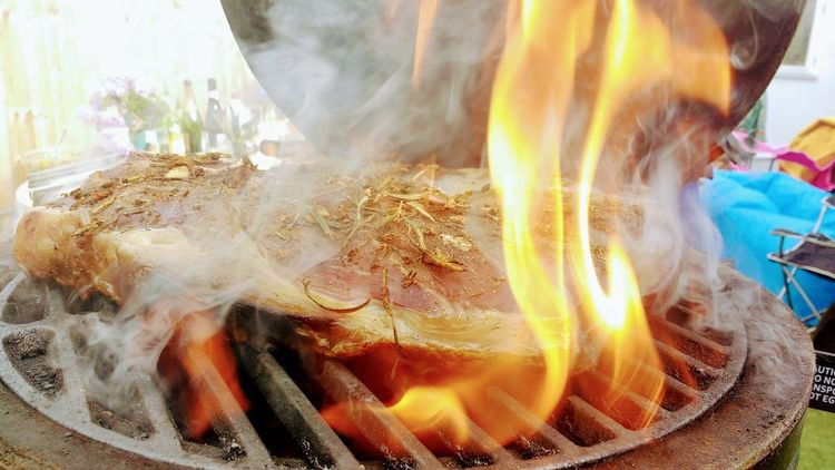 BBQ BBQ Pit Flames Herbs Burning Close-up Day Flame Flame Grilled Food Food And Drink Freshness Heat - Temperature Indoors  Meat No People Smoke - Physical Structure