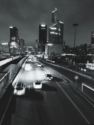 City Night Road Traffic Highway Sky And Clouds Speed Illuminated Night Photography Black And White Paris