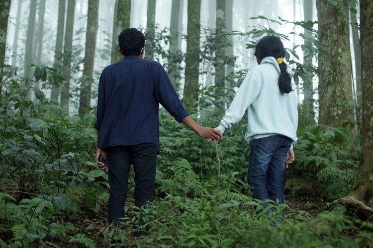 Rear view of people standing in forest