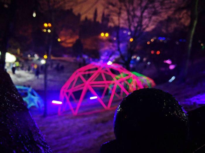 Illuminated Night Focus On Foreground Nightlife Event Polygons SpectraABDN