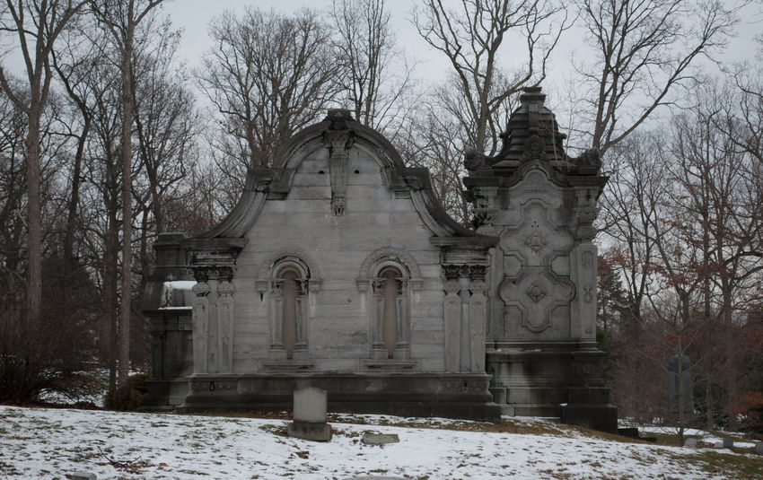 Bare Trees Beautiful Decay Bleak Cemetary Creepy Crypt Deterioration Gray Headstone Old Ornate Snow Stone Tomb Winter