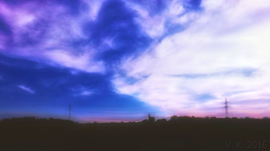 The blue sky Sky Cloud - Sky Rural Scene Field No People Outdoors Tree Tranquility Beauty In Nature Tranquil Scene Be Free. <3