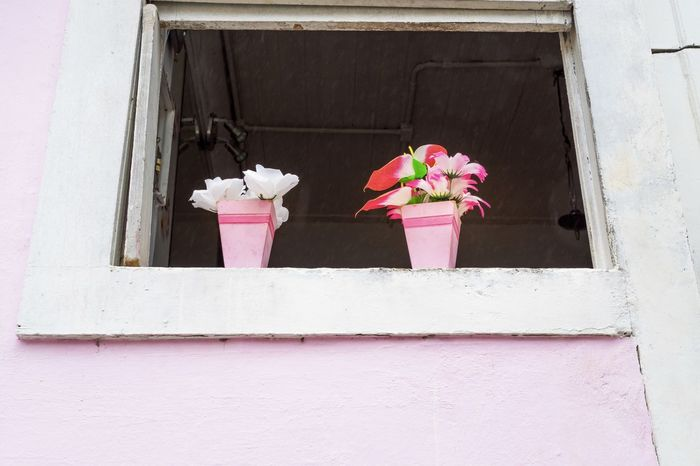 Architecture Building Exterior Built Structure Day Flower Flowerpots No People Outdoors Pink Color Pots Pretty Pretty In Rosa Rosa Street Photography Streetphotography Windows The EyeEm Collection Selected for Premium Collection