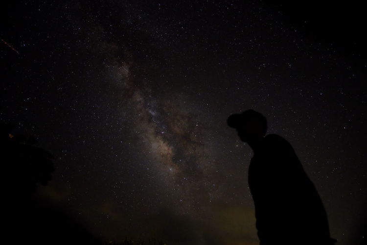 Silhouette man standing against sky at night