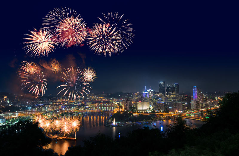 Spectacular fireworks display over Pittsburgh Pennsylvania on Independence Day 2018 2018 4th Of July Celebration Cityscape Fireworks Impressive Patriotic Patriotism Pennsylvania Pittsburgh Skyline City Dramatic Firework Firework Display Independence Day Night Outdoors Overlook