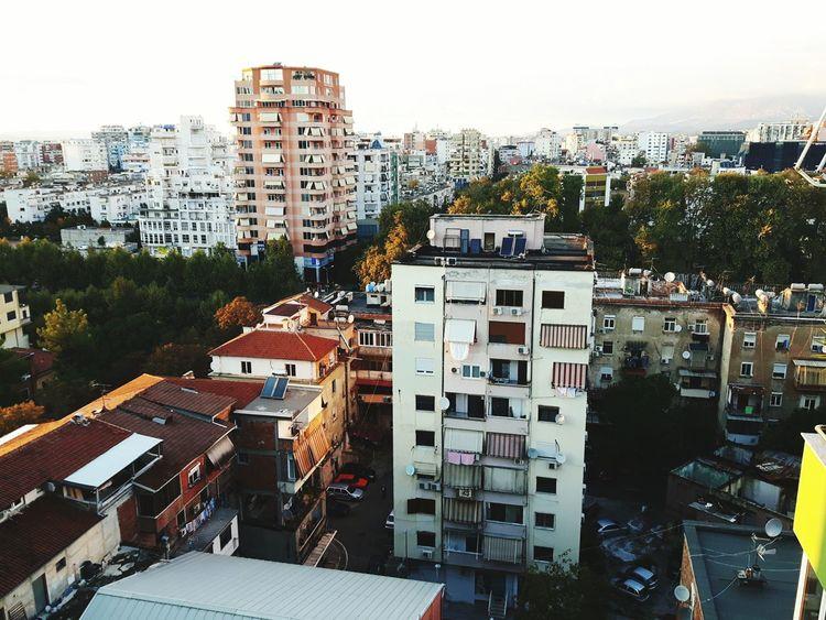 Tirana City Urban Cityscape High Angle View City Life Architecture Building Exterior