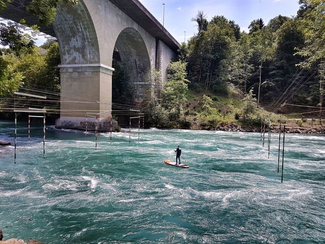 Water Day One Person Sport River Bridge Stand Up Paddling Breathing Space Go Higher