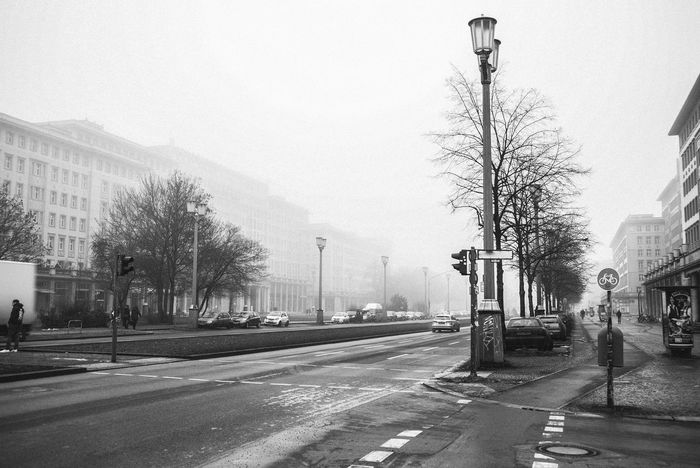 Architecture Architecture Bare Tree Blackandwhite Blackandwhite Photography Building Exterior Built Structure City Day Foggy Foggy Morning Foggy Mountains Foggy Weather Karl Marx Allee No People Outdoors Road Sky Stralauer Allee Street Transportation Tree